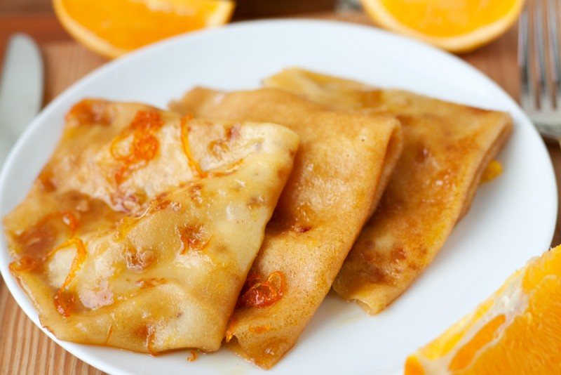 Traditional French cuisine, the Crepe Suzette in Noumea, New Caledonia.