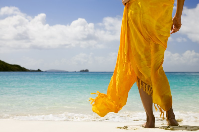 orange sarong on the beach