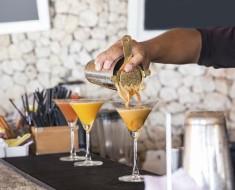 Pouring coffee martini